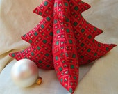 Vintage Fabric Christmas Tree - Red, Green, Gold Basketweave - Large