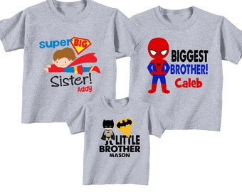 Matching Biggest Brother, Little brother, Big Sister Sibling T shirt set Tees