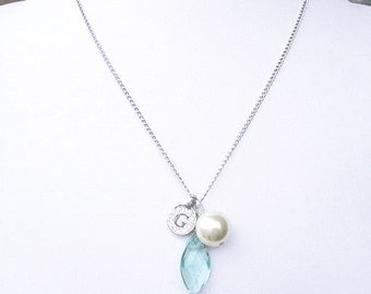 Personalized letter G necklace, blue stone & off-white pearl letter coin necklace, june pearl birthstone silver G necklace for birthday gift