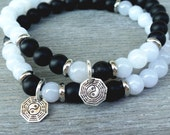 Couple bracelet His and Her bracelet set .925 Silver Yin Yang bracelet, Black and white bracelet Black onyx, White jade Harmony & Protection