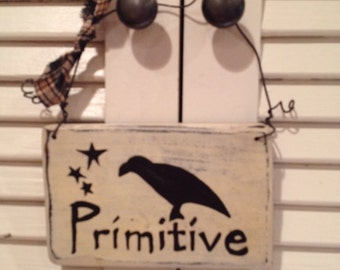 Primitive Crow and Stars Cupboard or Peg Rack Sign, Hand Crafted and Painted