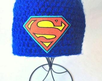 Crochet Superman Beanie, Superman Beanie, Superman Hat, Superman Crochet Beanie, Soft Crochet Beanie, Acrylic Yarn, Superman winter beanie