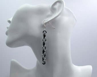 Black and Silver Chainmaille Earrings - Byzantine Weave Earrings - Nickel Free Handmade Chainmail