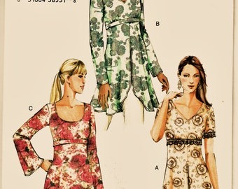 Vogue Sewing Pattern 7934 Romantic Long Split-Front Tunic w 2 Neckline & 3 Sleeve Options Sz 6-10 Uncut FF Knee Length Top Sewing Patterns