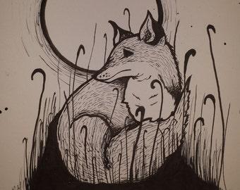 Poster print- 12 x 9 - fox in the moonlight