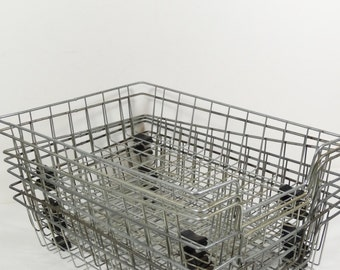 Industrial Wire File Baskets - Wire Office Baskets - Vintage Office File Midcentury Office