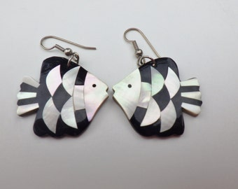 Vintage Angelfish Earrings Mother of Pearl