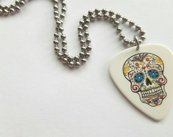 Sugar Skull Guitar Pick Necklace with Stainless Steel Ball Chain