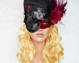 Venetian masquerade mask, Lace mask, Couture ball mask, Gothic mask, OOAK mask, Rose red mask, Mardi Gras, Mysterious, Feather headpiece