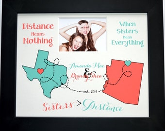 Sisters map, sisters birthday gift, going away gift, custom sister print, long distance map, best friends map, state map, custom map board