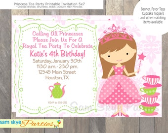 Princess Birthday Tea Party Invitation, Tea Parties,  Princess Birthday Parties Printable Invitation