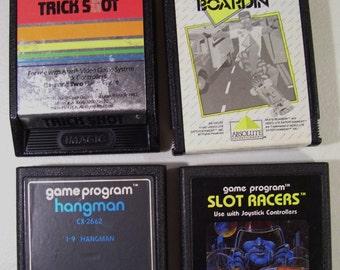 Lot of 4 Vintage Atari 2600 Video Game Cartridges, Trick Shot, Skate Boardin', Hangman & Slot Racers