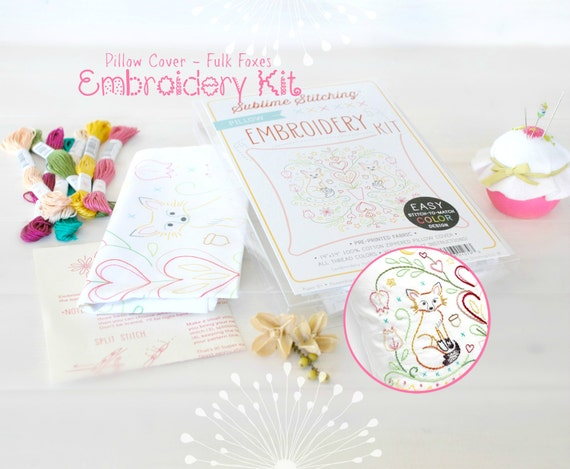 Embroidered Book Cover Diy : Diy embroidery kit pillow cover for