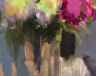 Contemporary Still Life Painting, Abstract Flowers Painting Oil Canvas Artwork Original, Pink Grey Wall Art Canvas Floral Painting