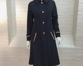 vintage Bill Blass coat // navy blue military inspired trench coat // 1960s 1970s