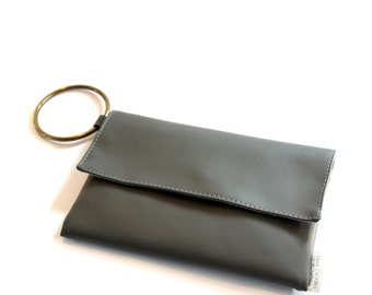 Grey Clutch, Evening purse, Vegan Handbag, Grey Wristlet, Vegan Mini Purse, Evening Bag