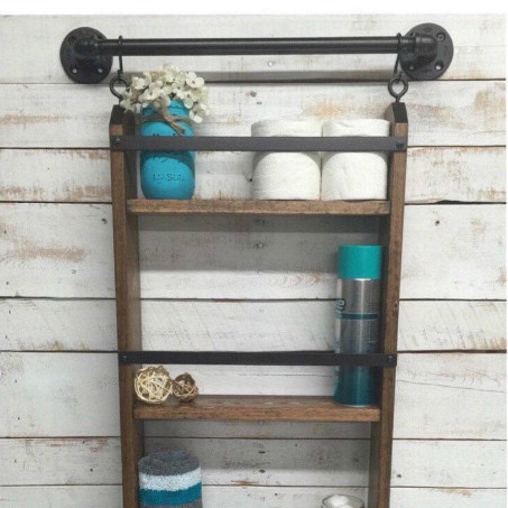 Bathroom Ladder Shelf Rustic Bathroom Shelf By