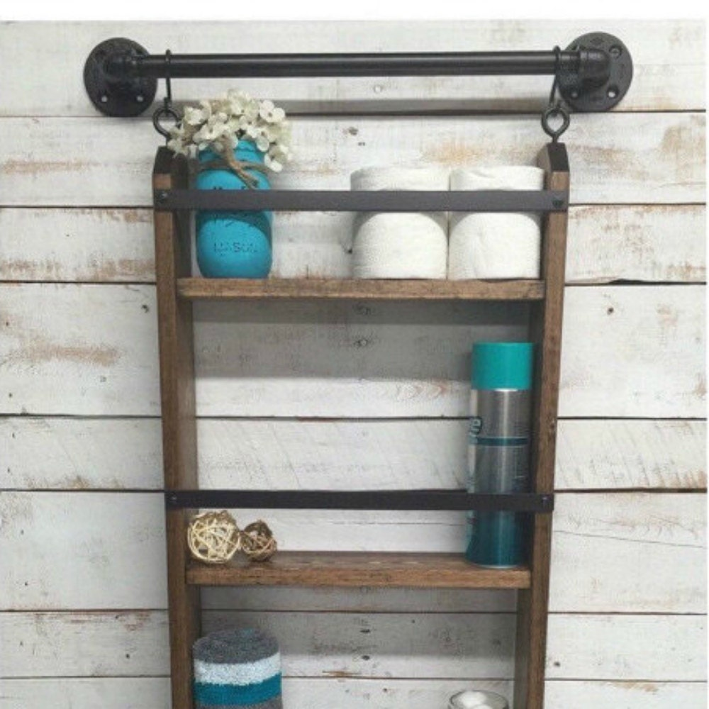 bathroom ladder shelf rustic bathroom shelf by countrycornergoods. Black Bedroom Furniture Sets. Home Design Ideas