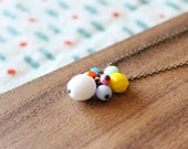 "czech glass bead cluster 30"" necklace - color pop - rainbow"