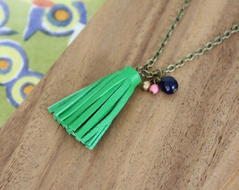 genuine leather small tassel - green - necklace 30 inches - czech glass beads