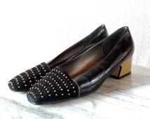 Vintage Studded Bellini Leather Shoes. Size 7.5