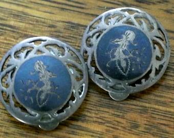 Vintage ladies earrings - Siam sterling silver