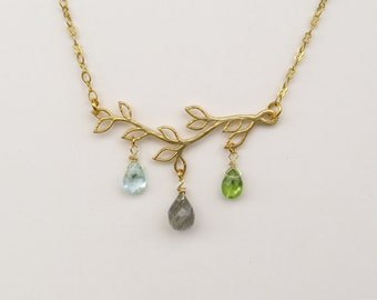 Gold twig necklace, Gold branch necklace, Aquamarine necklace, Peridot necklace