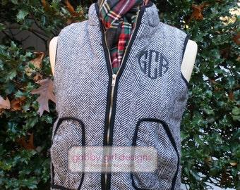 Monogrammed Herringbone Vest - Monogrammed Herringbone Tweed Vest - Herringbone Vest - Monogram Vest - Fall Vest