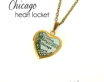 Chicago Map Necklace, Antique Map Jewelry, Brass Heart Locket, Vintage Locket, Illinois, City Necklace, Gift for Her