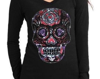 Fashion Vixen Clothing Long Sleeve V-Neck Rhinestud Sugar Skull Shirt S M L XL Plus Size 1x 2x 3x 4x 5x