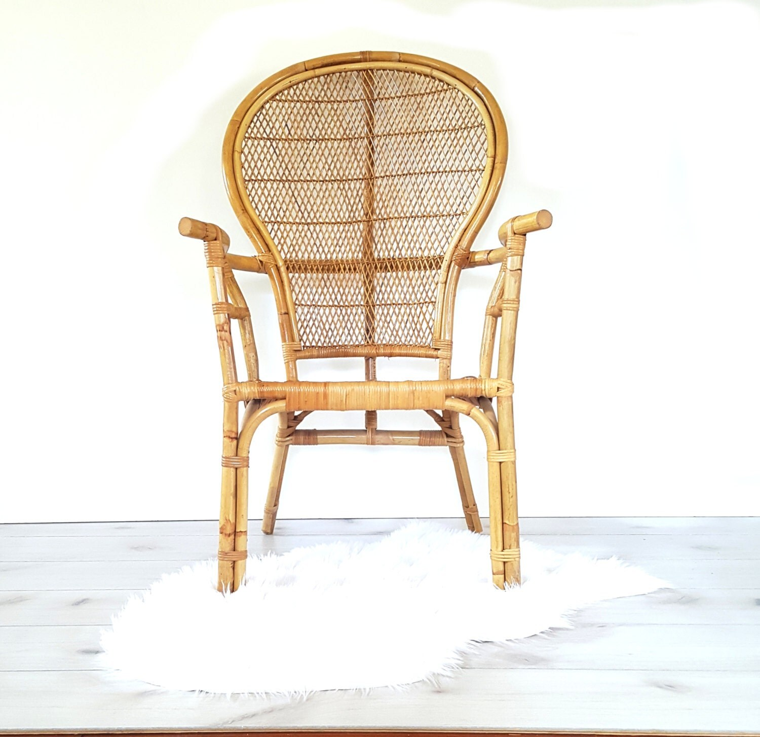 Bamboo Arm Chair Vintage Bentwood Bamboo Rattan High Back