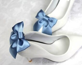 Dark Blue Bow Shoe Clips, Something Blue Shoe Clip, Dark Blue Wedding Accessories Shoes Clip, Dusky Blue Bow Clip Shoes