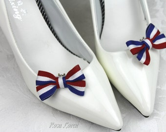 Red White and Blue Shoe Clips, Patriotic Bow Shoe Bows, July 4th Bows, 4th of July Bow Clip Shoes, Nationalistic Wedding Accessories