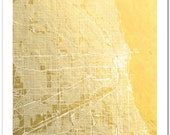 Chicago Gold Foil Map, Chicago Print, Gold Foil Print, The Windy City Street Map, Chicago Map Wall Art, Chicago Map Art, Gold Decor