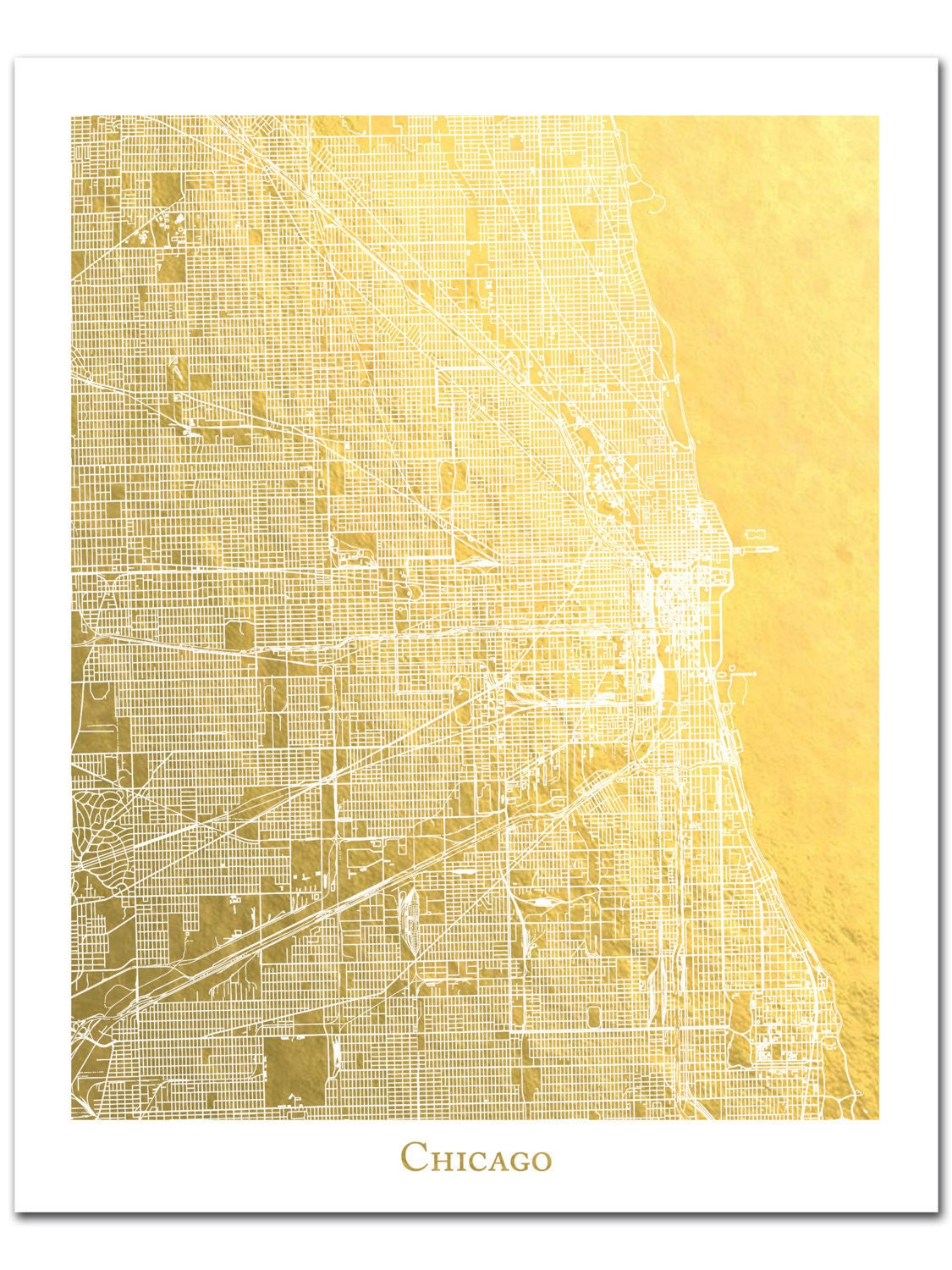 Chicago Map Etsy - Chicago map etsy
