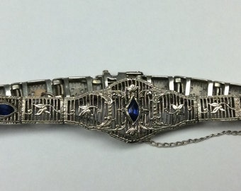 Edwardian Filigree White Gold with Navette Sapphires in 10k gold 1920