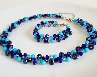 Royal Blue Jewelry Set(necklace,bracelet),Wedding Blue Jewelry,Bridal Bright Blue Necklace,Crystal Jewelry,Prom,Gift from bride,Mom jewelry