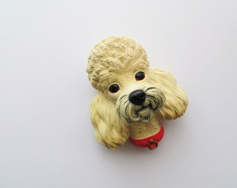 60s Bossons Chalkware Poodle Wall Decor Signed England 1968