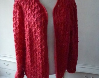 coral red hand knit jacket