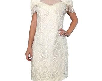 Fringe Dress/ Fringe Sequin Dress/ Fringe Gown/ Cream Sequin Dress/ White Sequin Dress/ Lace Dress/ Open Back Dress/ Formal Dress