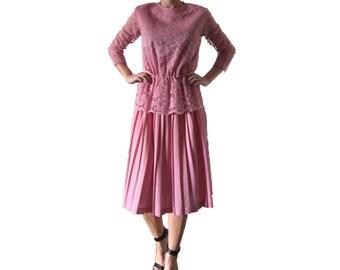 Pink Lace Peplum Dress/ Pleated Dress/ Designer Dress/ Pink Dress/ Lace Peplum Top/ Vintage Pink Dress/ Pleated Skirt/ Light Pink Dress/Lace