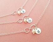 Initial Bracelet - Pearl Bracelet - Personalized Bracelet - Infinity Bracelet - Freshwater Pearl - Bridesmaid Gift - Personalized Jewelry