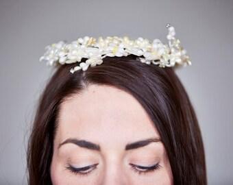 Vintage Genuine Art Deco Wax Orange Blossom Flowers & Diamante Tiara/Crown/Headdress - Bridal/Wedding - Gatsby/Downton Abbey - 1930's