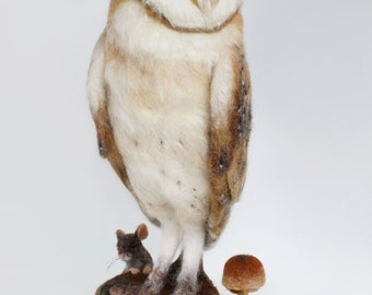 READY TO SHIP, Needle Felted, Barn Owl Sculpture, Barn Owl Art, Owl Art