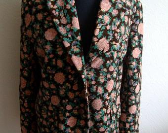 Brown Velvet Floral Print Blazer