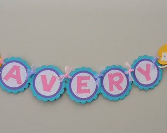 Mermaid Name Banner,  Girly Under the Sea Party Banner, Under the Sea Birthday