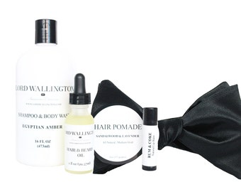 Grooming Gift Set/ Satin Bow tie / Shampoo Body Wash/Hair Pomade/Hair and Beard Oil / Lip Balm /gifts for men / grooming for men / body care