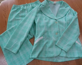 Vintage Womens Polyester Pants Suit/Jacket size 14~Mint Green Print Variegated