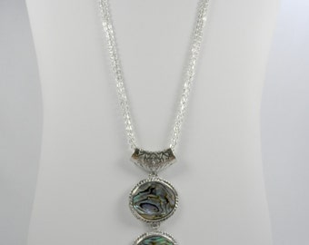 Abalone Paua Shell Tri-Link Pendant Necklace with Triple Silvertone Chains - 24 inch length
