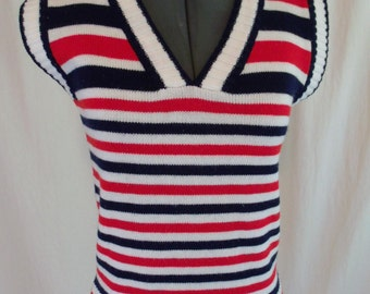 Vintage 70s Women's Knit Red White & Blue Striped Short Sleeve Sweater S-M